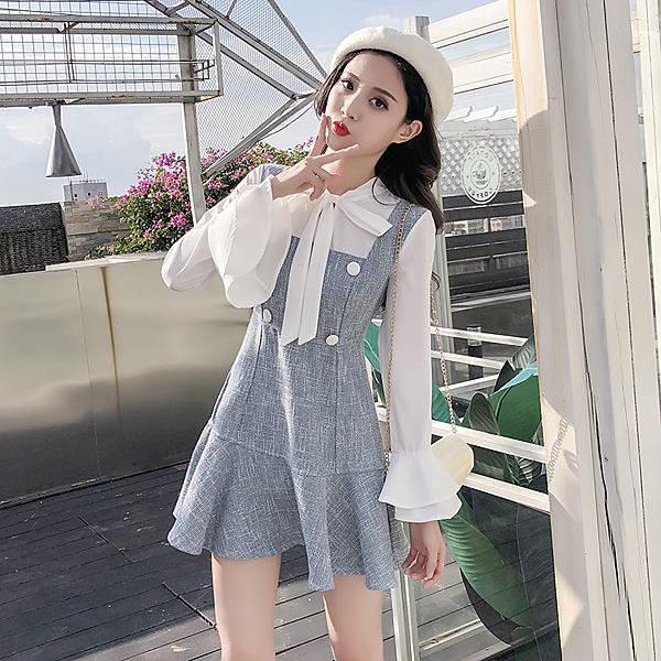 出清388 韓系蝴蝶結雪紡喇叭袖荷葉邊假兩件長袖洋裝