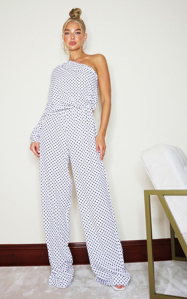 White Polka Dot One Sleeve Wide Leg Jumpsuit