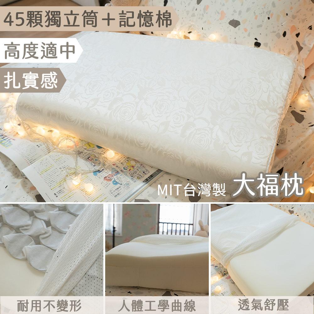 記憶棉-獨立筒枕(大福枕)舒壓透氣 58X36cm台灣製(一入1280/二入2499)【棉床本舖】
