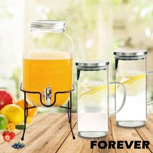 【日本FOREVER】派對玻璃果汁飲料桶(含桶架)4L贈玻璃水壺2入