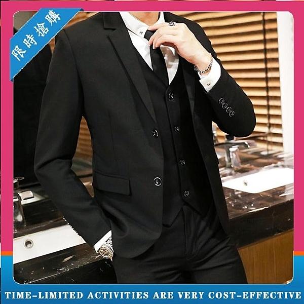 西裝男套裝 潮帥氣青年小西服 休閒外套職業男士兩件套正裝 萬寶屋