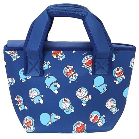 小禮堂 哆啦A夢 潛水布保冷便當袋 保冷提袋 野餐袋 可拆內裡 (深藍 50週年) 4549204-76191