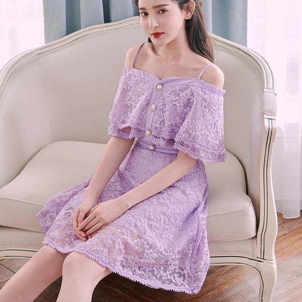 露比午茶-一字領刺繡荷葉無袖洋裝