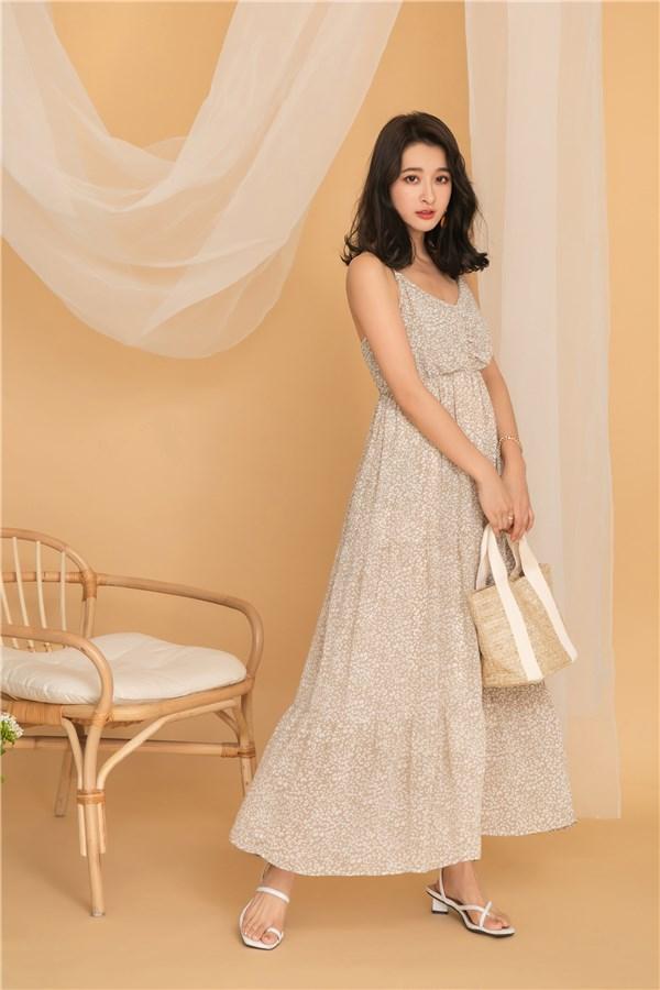 奶油杏豹紋層次洋裝