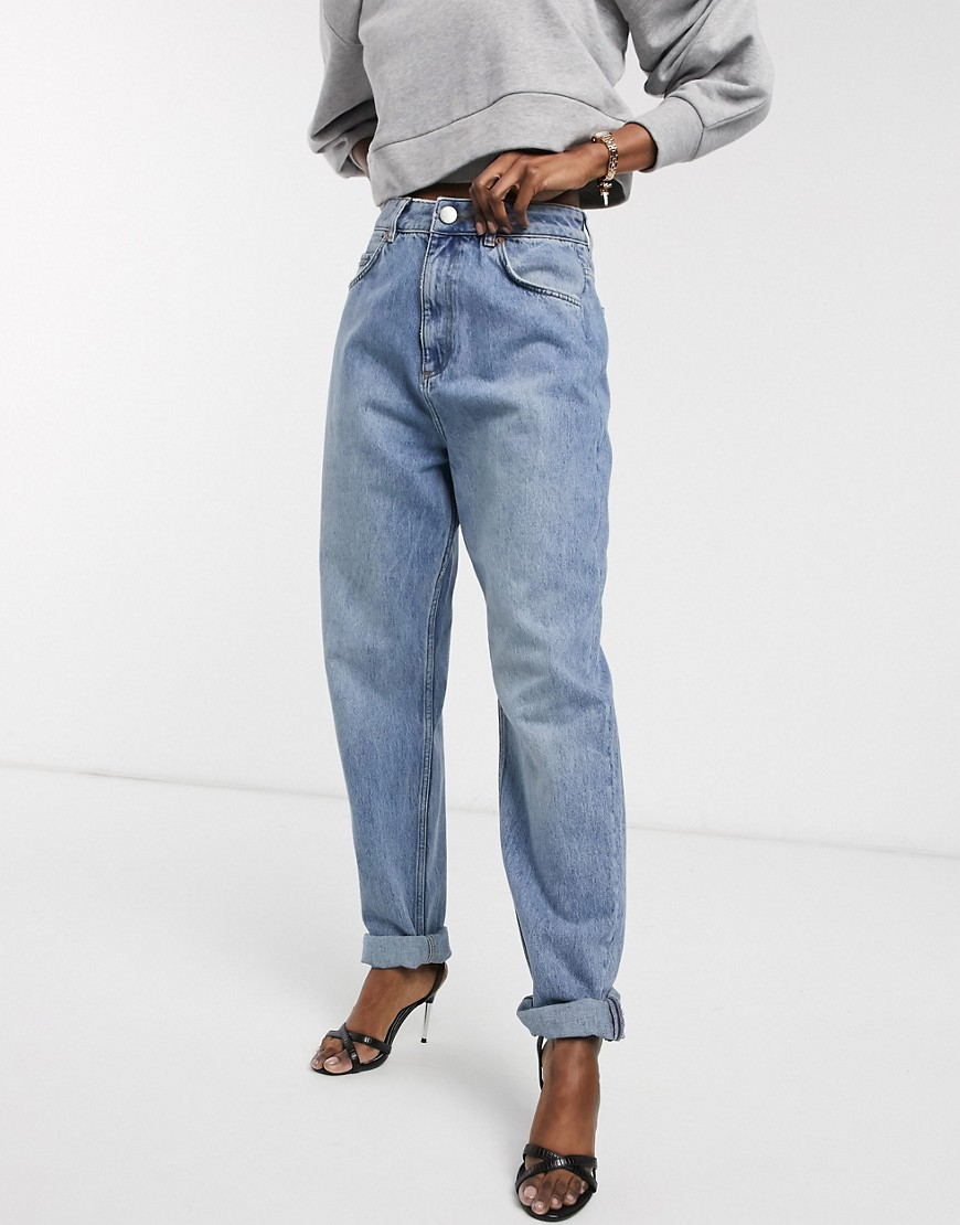 ASOS DESIGN high rise 'slouchy' mom jeans in midwash-Blue