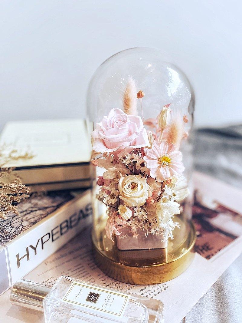 永生玻璃鐘罩花禮 | 乾燥花 永生花 生日禮物 客製化 情人節禮物