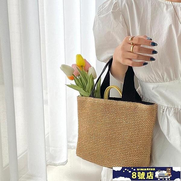 ins2021新款網紅海邊夏季沙灘度假百搭編織包復古手提包草編包女 8號店