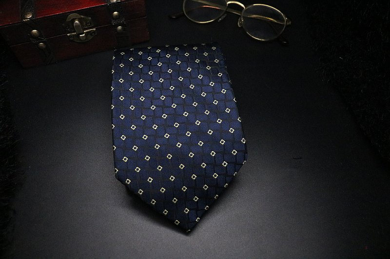 藍色真絲小方塊領帶/紳士商務正裝necktie