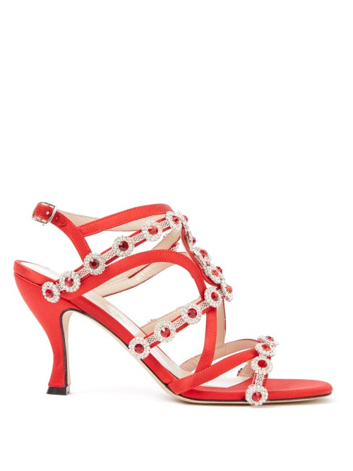 Christopher Kane - Crystal-embellished Satin Sandals - Womens - Red