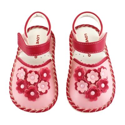 愛的世界 幸福花束寶寶鞋/學步鞋(淺粉色 )-台灣製