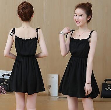 VK旗艦店 爆款韓國風鬆緊高腰顯瘦吊帶裙露肩無袖洋裝