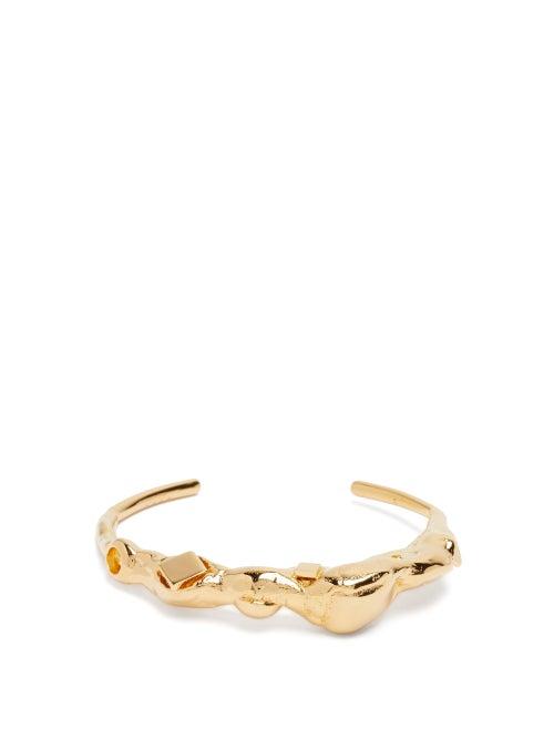 Marni - Stone-shaped Hammered Cuff - Womens - Gold