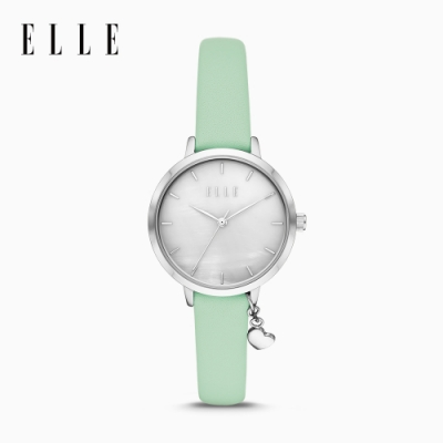 ELLE Mouffetard 穆浮塔綠意街道腕錶 鏡面銀X綠皮革錶帶 32mm ELL25039