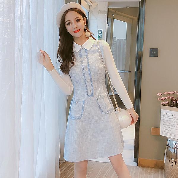 第二件4折 韓國風胸前流蘇邊珍珠扣拼接針織袖長袖洋裝