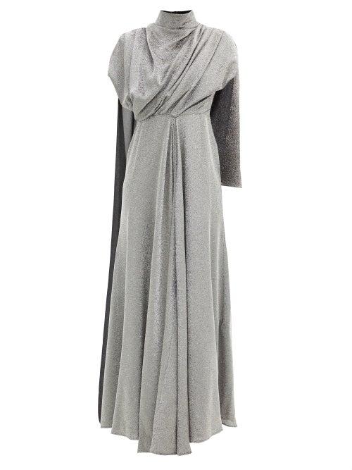Ellery - Dolomith Draped Silk-blend Jersey Maxi Dress - Womens - Silver