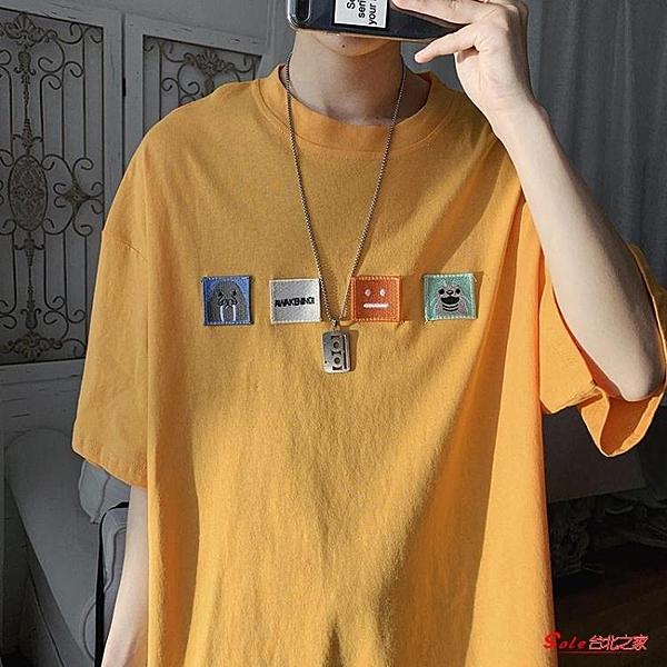 短袖T恤 新款短袖男ins韓版寬鬆貼布體恤衫港風圓領休閒潮流半袖上衣服