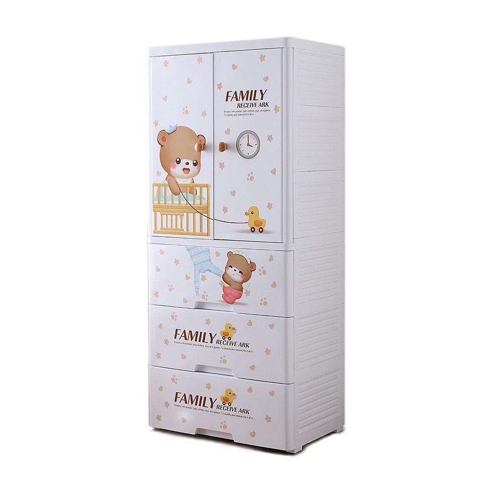 Mr.box【024007-01】寶貝熊雙開門式兒童吊掛衣櫃(二門3大抽屜);收納/傢俱/孩童/童趣/衣服