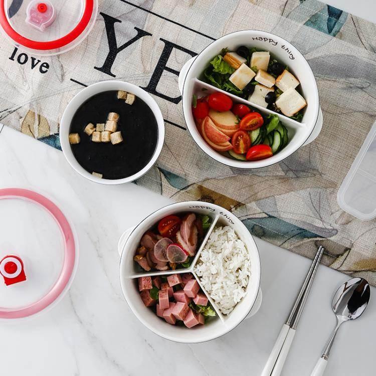 便當盒上班族帶飯的飯盒可微波爐加熱專用分隔型餐盒套裝陶瓷分格