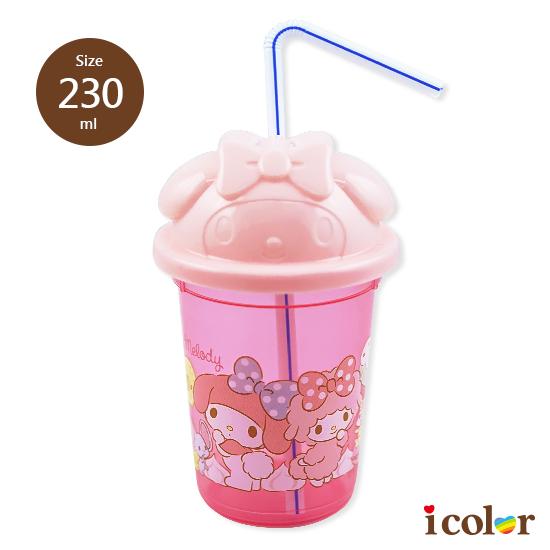 三麗鷗 美樂蒂附吸管免洗塑膠杯 隨身杯