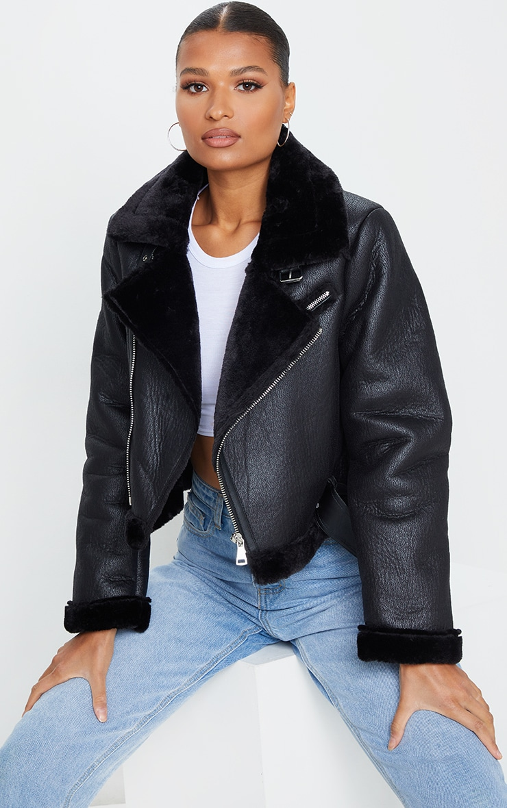 Black PU Cropped Belted Aviator