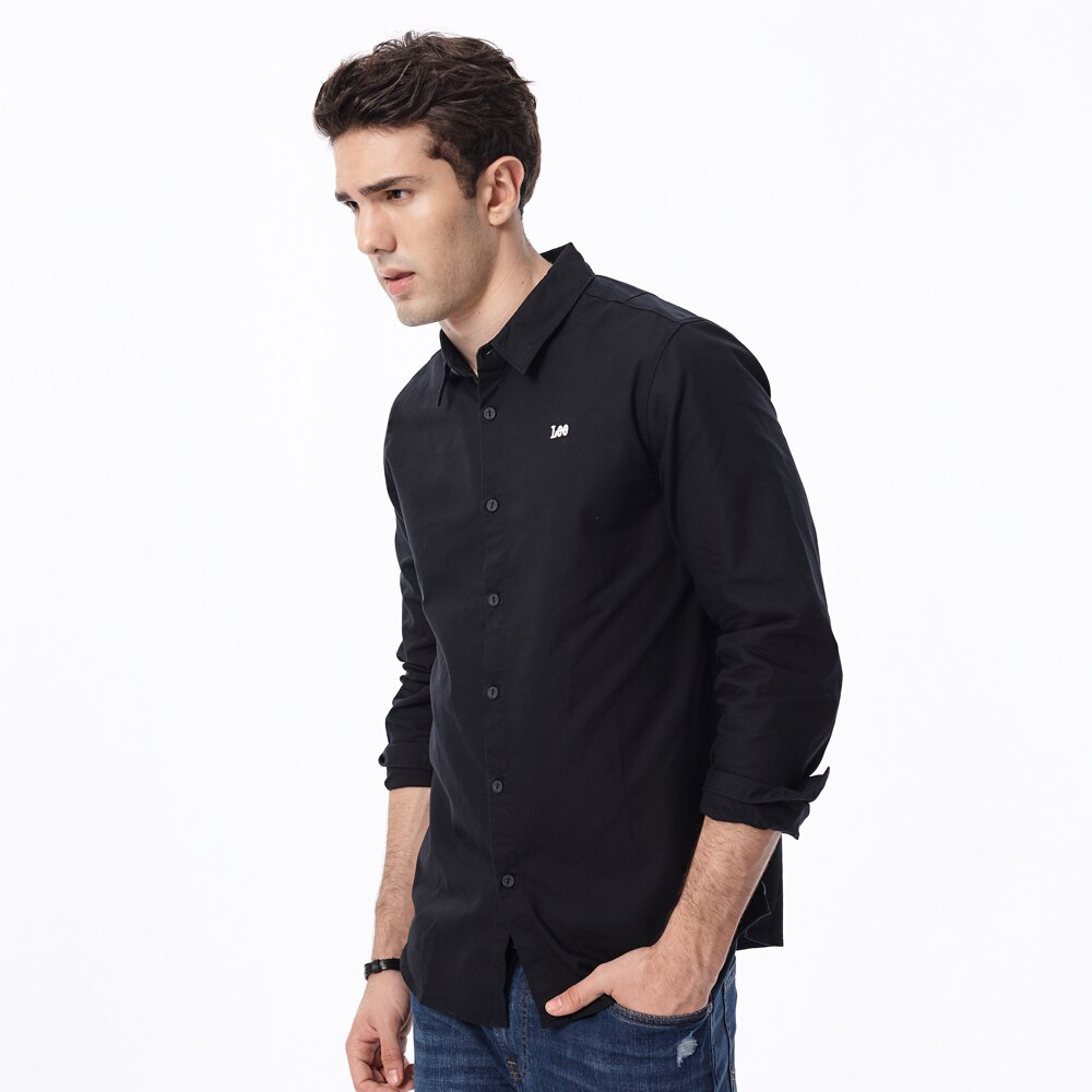 Lee 長袖襯衫 小logo 刺繡 黑 男款 100%棉