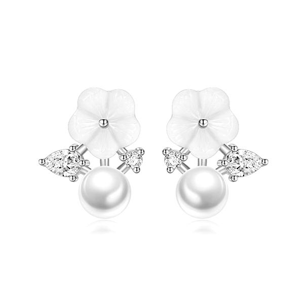 925純銀 海貝殼花貝珍珠 耳環耳釘針-銀 防抗過敏