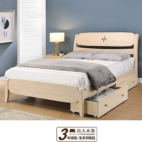 日本直人木業-- NEW ROSE 月亮白全實木3.5尺單人床(沒有附抽屜)