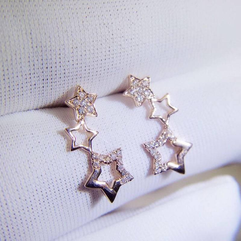 璽朵珠寶 [ 18K金 玫瑰金 不對稱 鑽石 耳環 ] 微鑲工藝 精品設計 鑽石權威 婚戒顧問 婚戒第一品牌 鑽戒