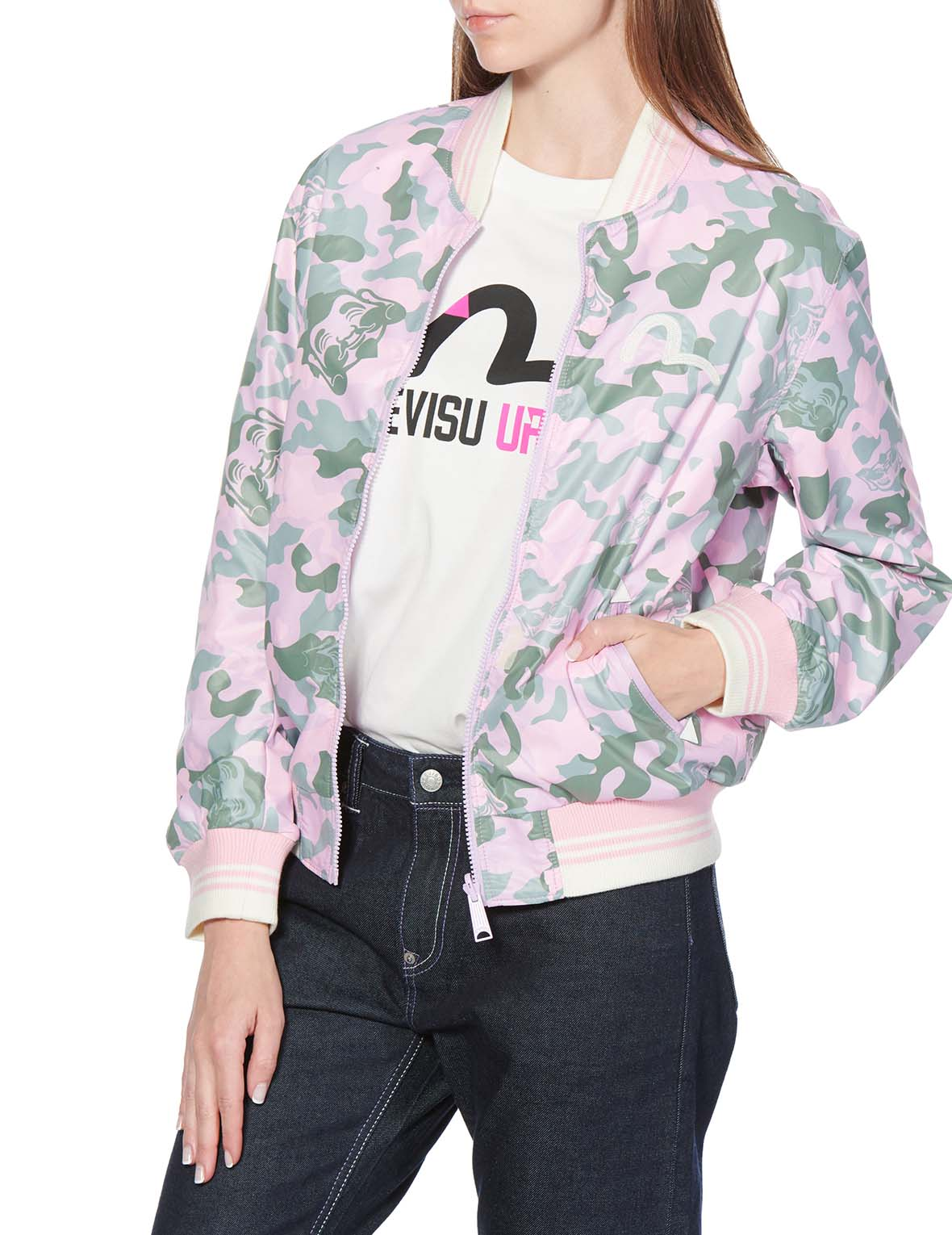 Allover Godhead Camouflage Printed Reversible Bomber Jacket