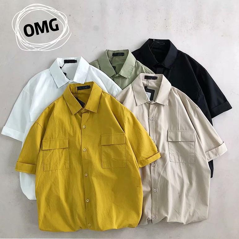 日系寬鬆工裝襯衫 短袖襯衫 多口袋襯衫 男生素色休閒短袖襯衫 情侶襯衫 工裝襯衫(913)【壹號站】