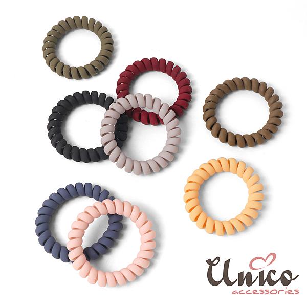 UNICO 清新無痕多色電話線髮圈/髮繩-8入組