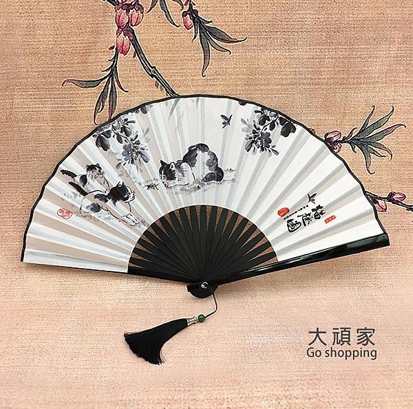 摺扇 摺扇男古風扇子流蘇中國風隨身便攜小扇古典漢服摺疊扇女日式