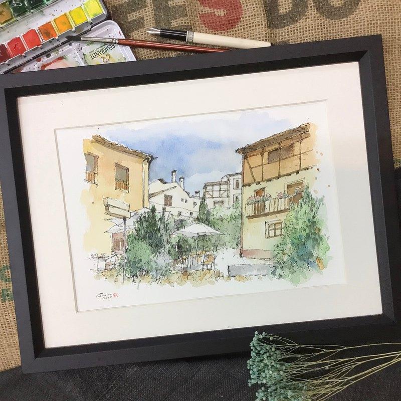 賽哥維亞舊城區/手繪原作/含木框