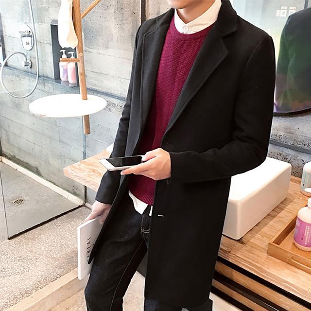 [現貨] 韓版男裝素面毛呢大衣 修身顯瘦中長版大衣外套 黑深灰藍酒紅卡其色 有大尺碼【QZZZ7243】