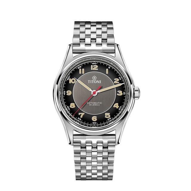 【TITONI瑞士梅花錶】 傳承系列 經典復刻錶/黑面鋼帶/39mm (83019 S-638)