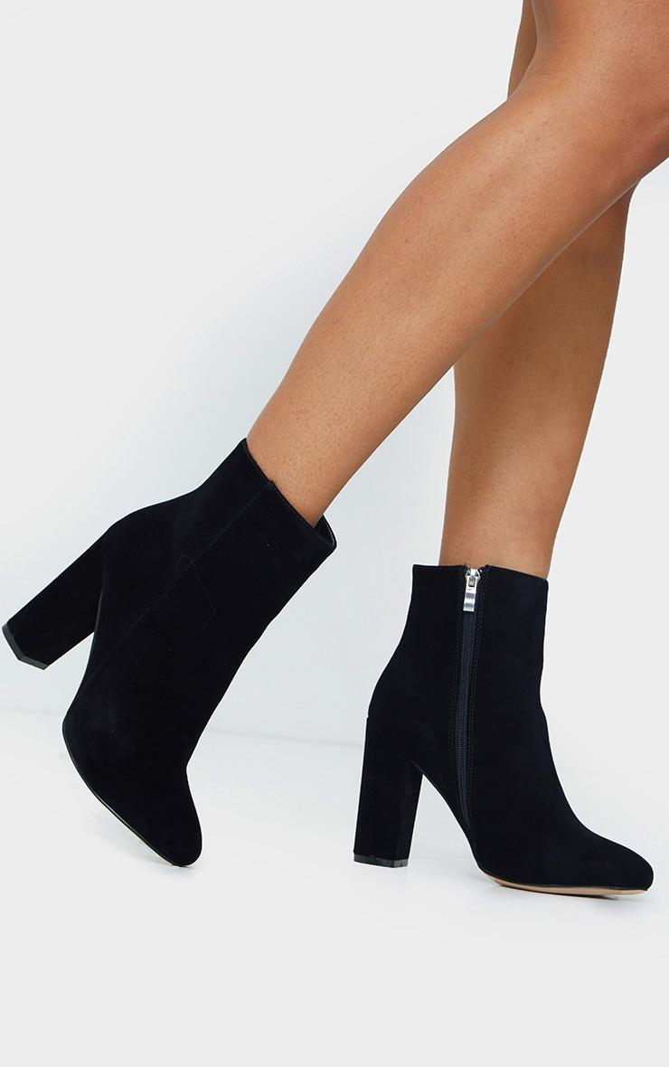 Black Wide Fit Behati Block Heeled Ankle Boot