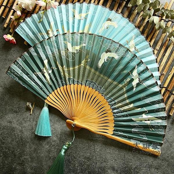 摺扇 孤雲將野鶴 復古風6寸女式摺扇漢服扇夏季攜帶小扇子禮品扇仙