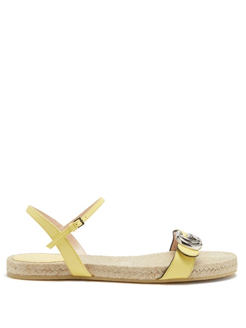 Gucci - Aitana Leather And Jute Sandals - Womens - Yellow