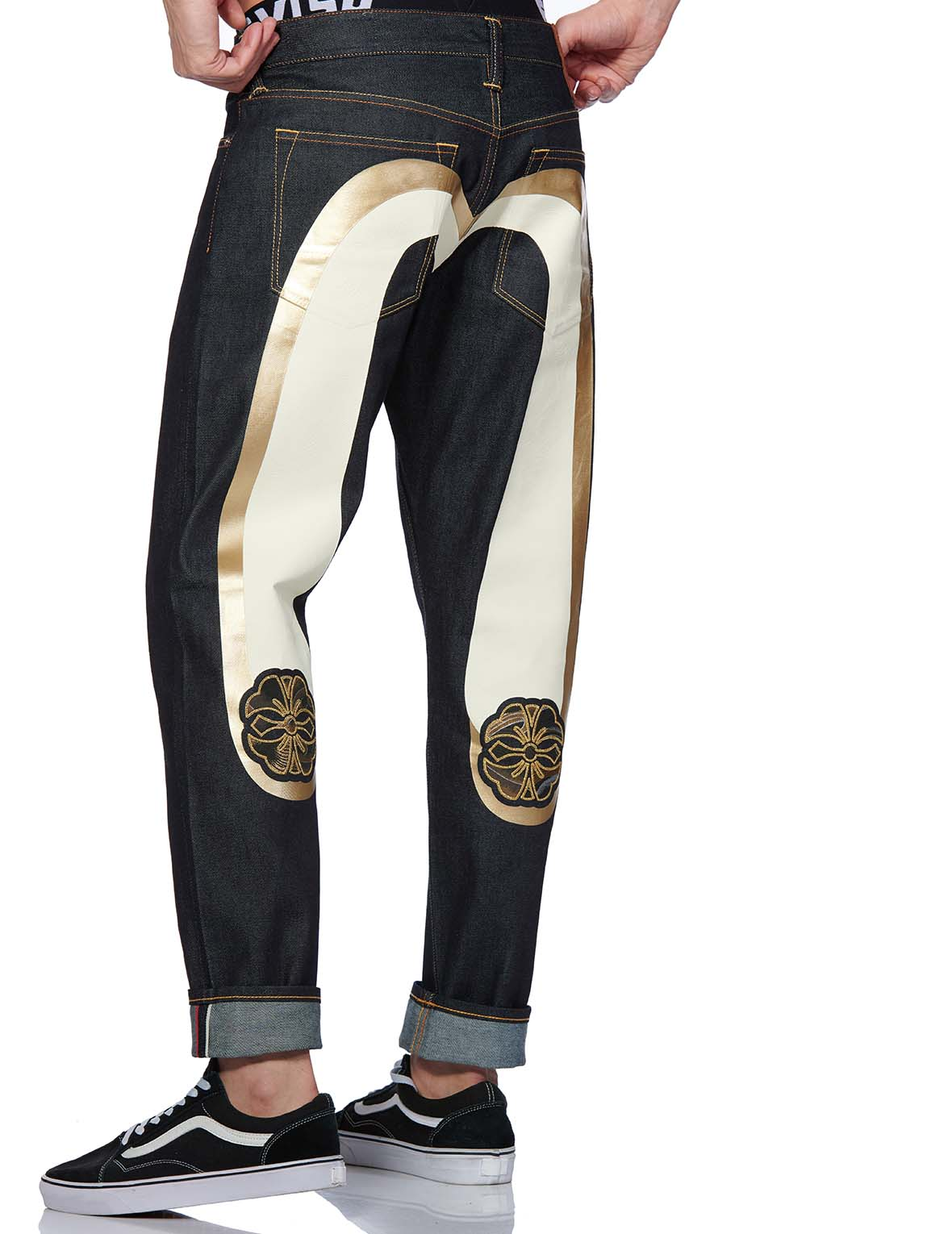Kamon Brocade Appliqué and Double Daicock Printed 2017 Carrot Fit Jeans