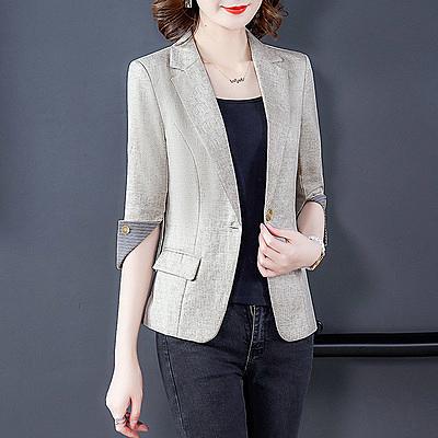薄外套~棉麻薄短款小西裝外套女短袖一粒扣職業修身亞麻西服8902.N2FB20愛尚布衣