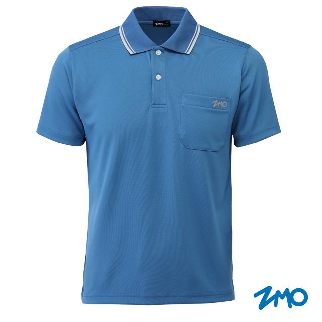 ZMO男透氣舒適POLO衫(口袋)AP757-藍灰