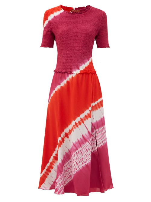 Altuzarra - Ayumi Shirred Shibori-dyed Silk Midi Dress - Womens - Pink Print
