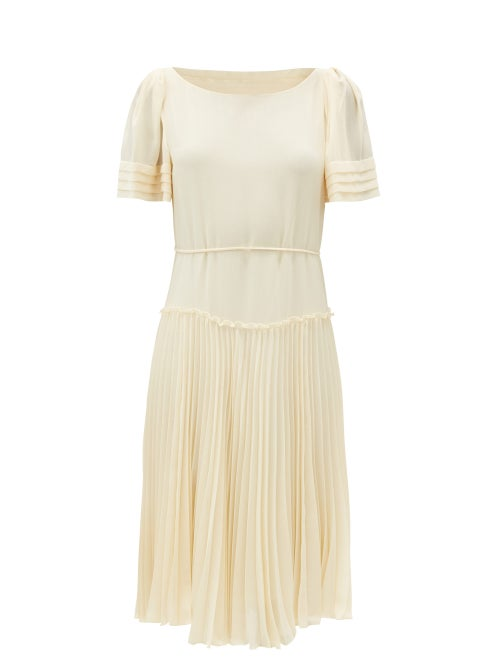 See By Chloé - Pleated Georgette Dress - Womens - Cream