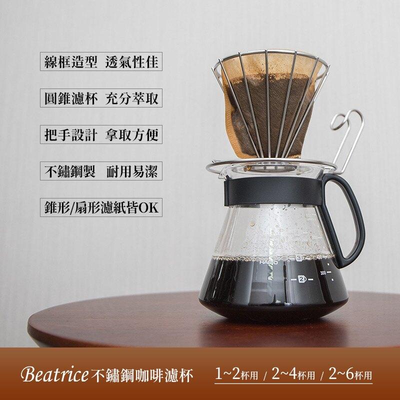 【Beatrice碧翠絲】不鏽鋼咖啡濾杯 2~6杯用