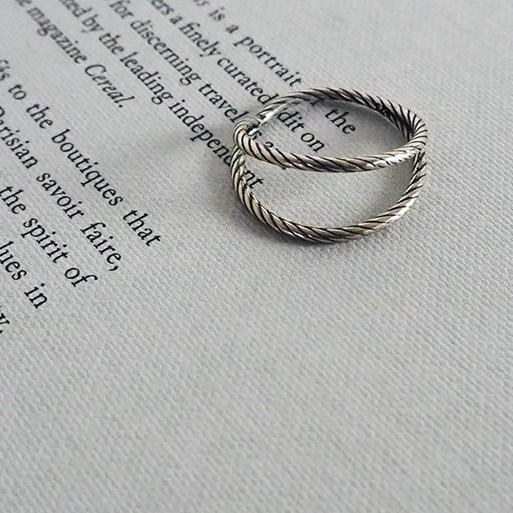 正韓手作 [925純銀.戒指] 繩索線條 雙層純銀戒指【MML039】
