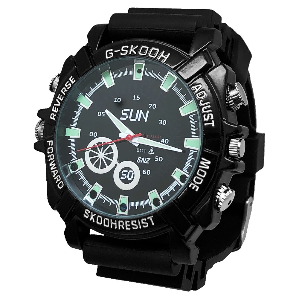 【CHICHIAU】1080P偽裝防水橡膠帶手錶SUN-夜視16G微型針孔攝影機/影音記錄器