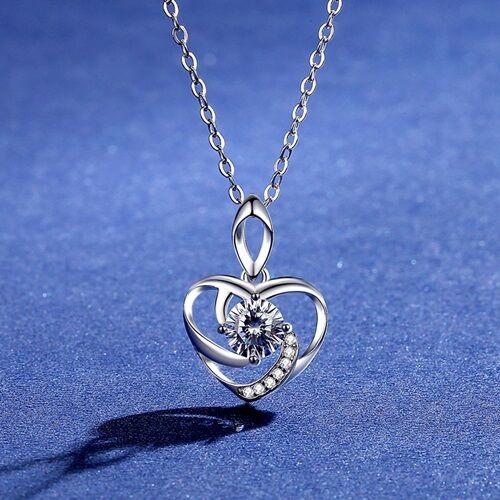 【米蘭精品】莫桑鑽項鍊925純銀吊墜-0.5ct心形幾何線條女飾品73yk110【附GRA證書】