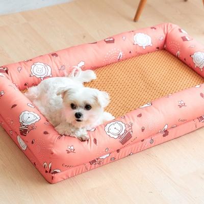奶油獅 涼夏好眠-台灣製造森林野餐-寵物透氣紙纖涼蓆記憶床墊-中40*60cm(10kg以下適用)-橘紅