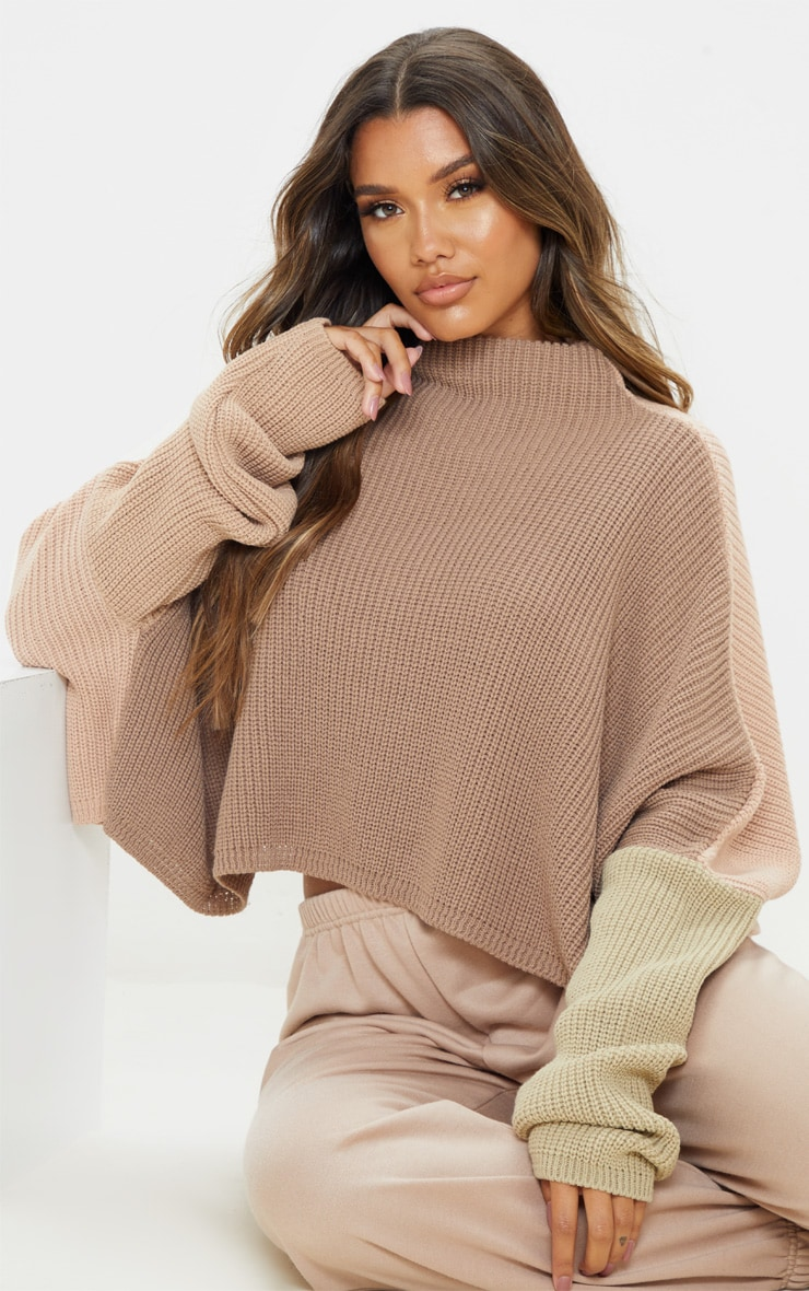 Stone Oversized Colourblock Jumper