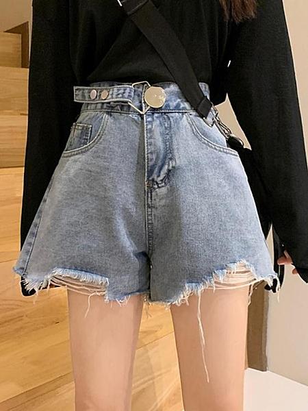 牛仔短褲牛仔褲短褲女2020夏季新款高腰顯瘦韓版寬鬆闊腿褲百搭a字褲子薄伊蘿 雙11 伊蘿